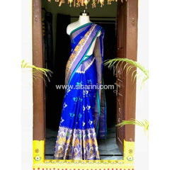 Pochampally Ikkat Pattu Saree-Royal Blue-Sitarini-PSHIPS178