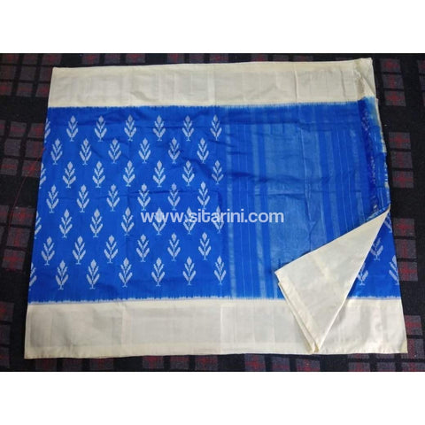 Pochampally Ikkat Pattu Saree-Sky Blue and White-Sitarini-PRHIPS121