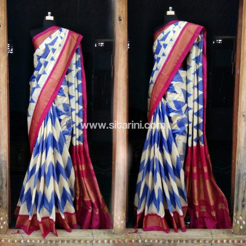 Pochampally Ikkat Pattu Saree-White and Blue-Sitarini-PRHIPS108