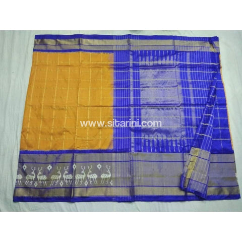 Pochampally Ikkat Pattu Saree-Yellow and Blue-Sitarini-PSHIPS154
