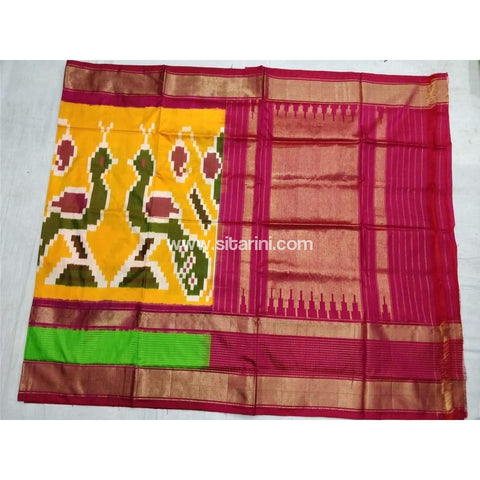 Pochampally Ikkat Pattu Saree-Yellow and Pink-Sitarini-PSHIPS129