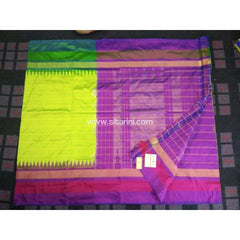 Pochampally Ikkat Pattu Saree-Yellow and Purple-Sitarini-PRHIPS120