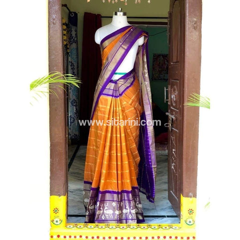 Pochampally Ikkat Pattu Saree-Yellow and Purple-Sitarini-PSHIPS141