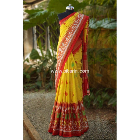 Pochampally Ikkat Pattu Saree-Yellow and Red-Sitarini-PRHIPS100