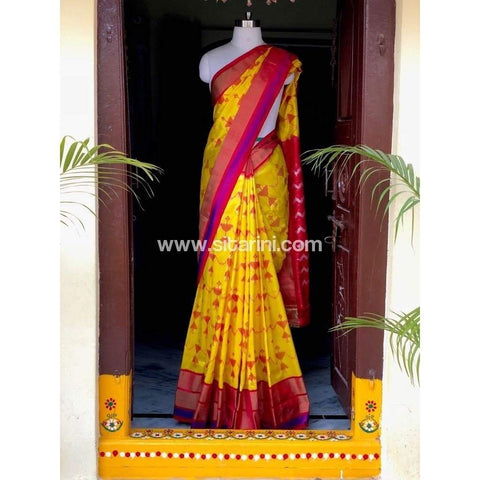 Pochampally Ikkat Pattu Saree-Yellow and Red-Sitarini-PSHIPS179
