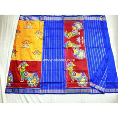 Pochampally Ikkat Pattu Saree-Yellow and Royal Blue-Sitarini-PSHIPS145