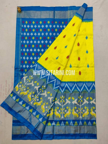 Pochampally Ikkat Pattu Saree-Yellow-Sitarini-SITIPS1002