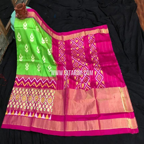Pochampally Ikkat Saree-Pattu-Green-Sitarini-SITIPS884