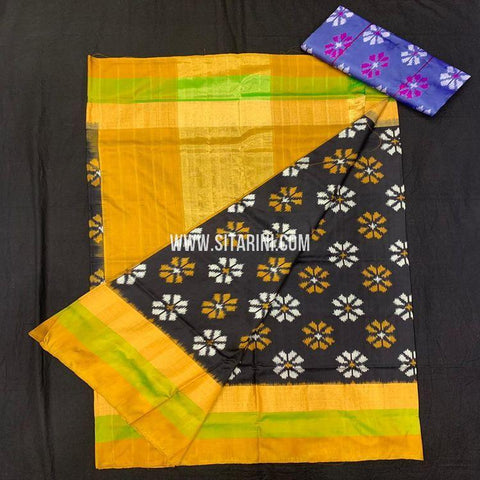 Pochampally Ikkat Saree-Silk-Black-Sitarini-SITIPS961