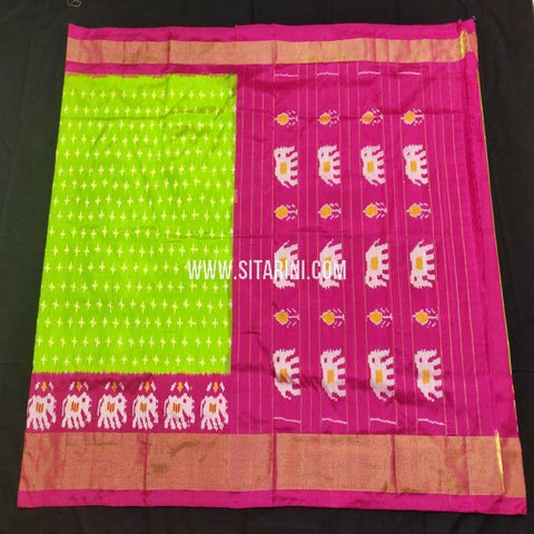 Pochampally Ikkat Saree-Silk-Green-Sitarini-SITIPS858