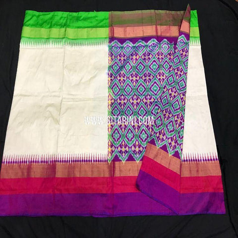 Pochampally Ikkat Saree-Silk-Off White-Sitarini-SITIPS813
