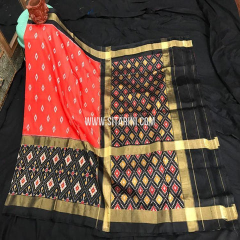 Pochampally Ikkat Saree-Silk-Red-Sitarini-SITIPS873