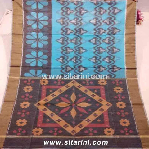 Pochampally Ikkat Sico Saree-Blue and Brown -Sitarini