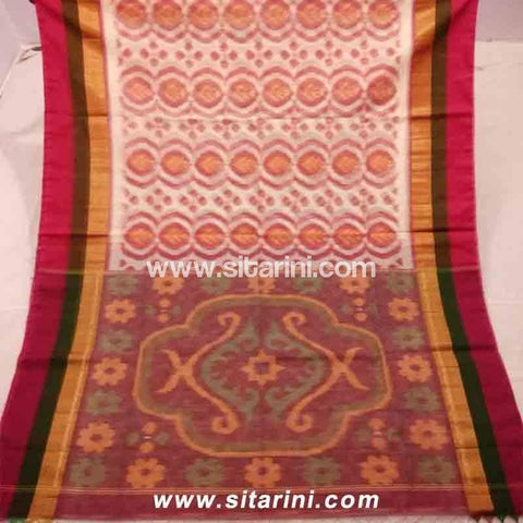 Pochampally Ikkat Sico Saree-Cream and Magenta-Sitarini