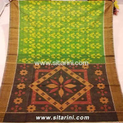 Pochampally Ikkat Sico Saree-Green and Brown -Sitarini