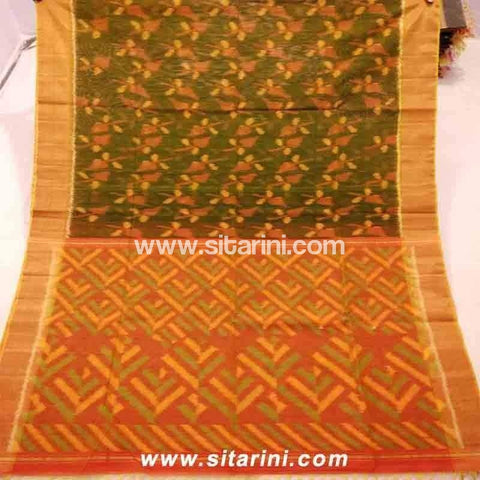 Pochampally Ikkat Sico Saree-Green and Light Orange-Sitarini