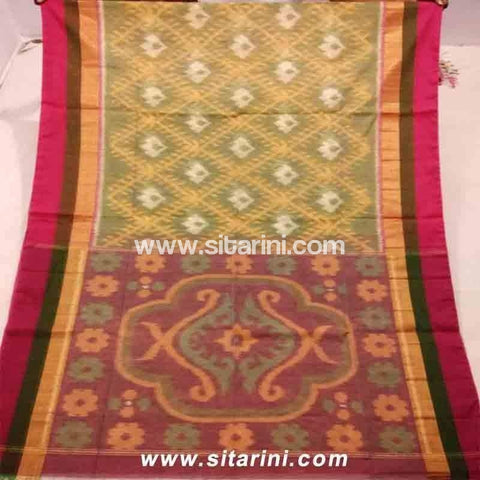Pochampally Ikkat Sico Saree-Greenish, Yellow and Magenta -Sitarini