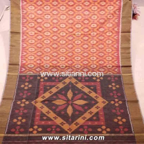 Pochampally Ikkat Sico Saree-Peach and Brown -Sitarini