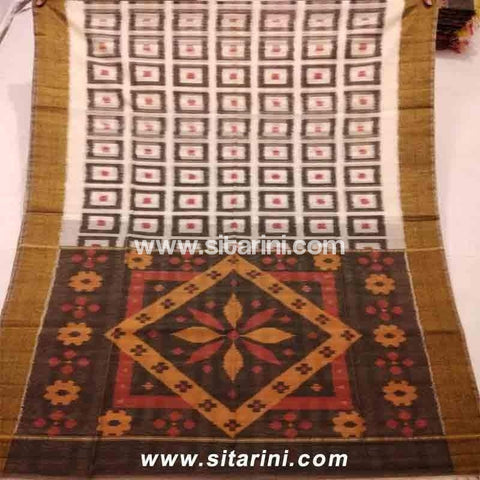 Pochampally Ikkat Sico Saree-White and Brown -Sitarini