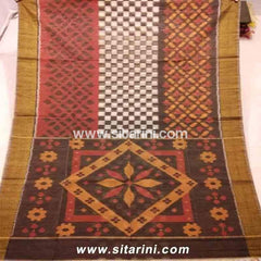 Pochampally Ikkat Sico Saree-White, Peach and Brown-Sitarini