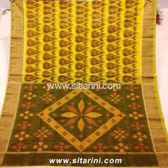 Pochampally Ikkat Sico Saree-Yellow and Brown -Sitarini