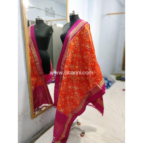 Pochampally Ikkat Silk Dupatta-Orange-Sitarini-PSHISD137