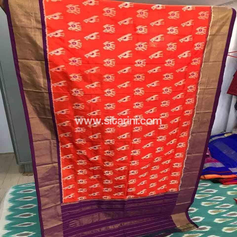 Pochampally Ikkat Silk Dupatta-Orange-Sitarini