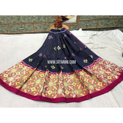 Pochampally Ikkat Silk Lehenga in Black and Magenta -Sitarini-PGMPHIPL141