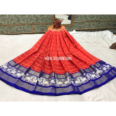 Pochampally Ikkat Silk Lehenga in Dark Orange and Royal Blue-Sitarini-PGMHIPL134