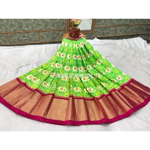 Pochampally Ikkat Silk Lehenga in Light Green and Magenta -Sitarini-PGMHIPL130