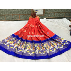 Pochampally Ikkat Silk Lehenga in Orange and Royal Blue-Sitarini-PGMPHIPL143
