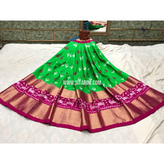 Pochampally Ikkat Silk Lehenga in Parrot Green and Magenta-Sitarini-PGMHIPL128