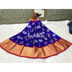 Pochampally Ikkat Silk Lehenga in Royal Blue and Pink-Sitarini-PGPHIPL137
