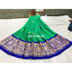 Pochampally Ikkat Silk Lehenga in Sea Green and Royal Blue-Sitarini-PGPHIPL139