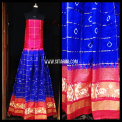 Pochampally Ikkat Silk Lehenga-Pink and Navy Blue-Sitarini-PRHIPL127