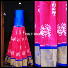 Pochampally Ikkat Silk Lehenga-Pink and Royal Blue-Sitarini-PRHIPL124