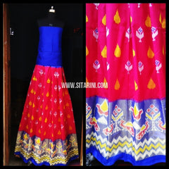 Pochampally Ikkat Silk Lehenga-Pink and Royal Blue-Sitarini-PRHIPL125