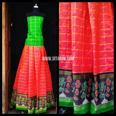 Pochampally Ikkat Silk Lehenga-Red and Green-Sitarini-PRHIPL126
