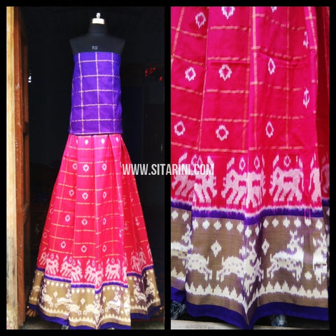 Pochampally Ikkat Silk Lehenga-Royal Blue and Pink-Sitarini-PRHIPL132