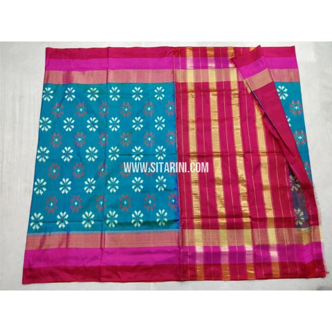 Pochampally Ikkat Silk Saree-Blue and Magenta-Sitarini-PSHIPS214