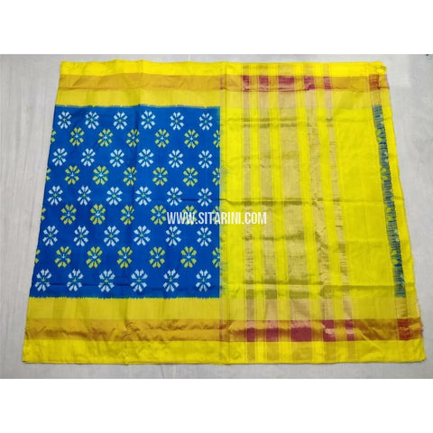 Pochampally Ikkat Silk Saree-Blue and Yellow-Sitarini-PSHIPS213
