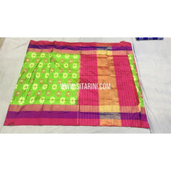 Pochampally Ikkat Silk Saree-Green-Sitarini-SITIPS426