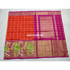 Pochampally Ikkat Silk Saree-Orange and Magenta-Sitarini-PSHIPS251