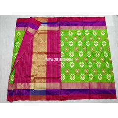 Pochampally Ikkat Silk Saree-Parrot Green and Pink-Sitarini-PSHIPS217