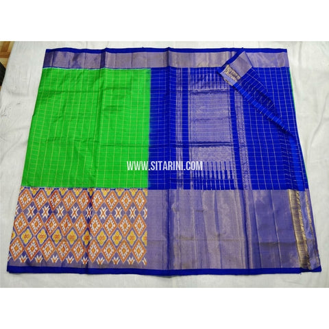 Pochampally Ikkat Silk Saree-Parrot Green and Royal Blue-Sitarini-PSHIPS244