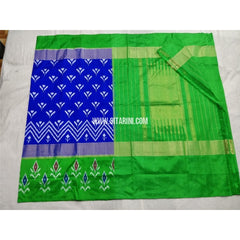 Pochampally Ikkat Silk Saree-Royal Blue and Parrot Green-Sitarini-PSHIPS250