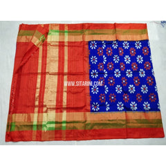 Pochampally Ikkat Silk Saree-Royal Blue and Red-Sitarini-PSHIPS220