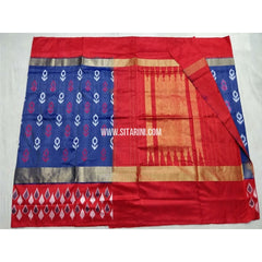 Pochampally Ikkat Silk Saree-Royal Blue and Red-Sitarini-PSHIPS232