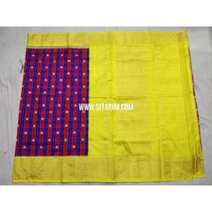Pochampally Ikkat Silk Saree-Royal Blue and Yellow-Sitarini-PSHIPS261