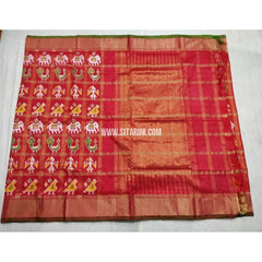 Pochampally Ikkat Silk Saree with Zari Checks-Dark Pink-Sitarini-PSHIPS240
